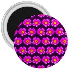 Pink Flower Pattern On Wine Red 3  Magnets