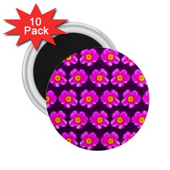 Pink Flower Pattern On Wine Red 2 25  Magnets (10 Pack)