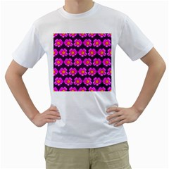 Pink Flower Pattern On Wine Red Men s T Shirt (white) (two Sided)