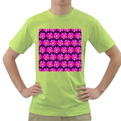 Pink Flower Pattern On Wine Red Green T Shirt