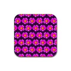 Pink Flower Pattern On Wine Red Rubber Coaster (square)  by Costasonlineshop