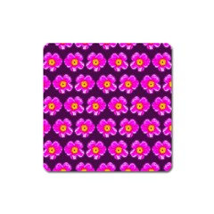 Pink Flower Pattern On Wine Red Square Magnet