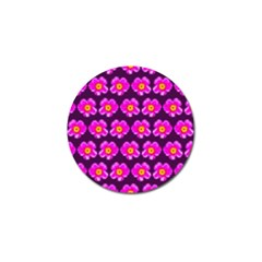 Pink Flower Pattern On Wine Red Golf Ball Marker (10 Pack) by Costasonlineshop