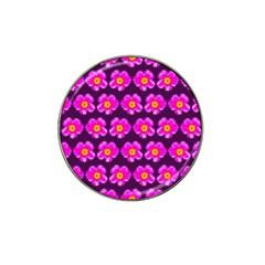 Pink Flower Pattern On Wine Red Hat Clip Ball Marker by Costasonlineshop