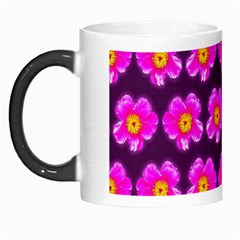 Pink Flower Pattern On Wine Red Morph Mugs by Costasonlineshop
