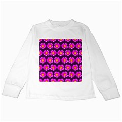 Pink Flower Pattern On Wine Red Kids Long Sleeve T Shirts