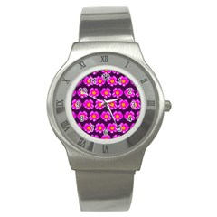 Pink Flower Pattern On Wine Red Stainless Steel Watch