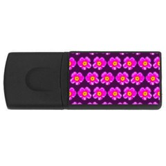 Pink Flower Pattern On Wine Red Usb Flash Drive Rectangular (4 Gb)  by Costasonlineshop