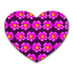 Pink Flower Pattern On Wine Red Heart Mousepads