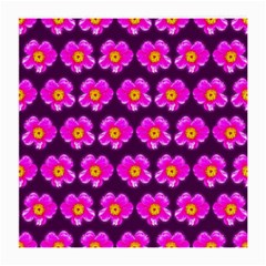 Pink Flower Pattern On Wine Red Medium Glasses Cloth (2 Side) by Costasonlineshop
