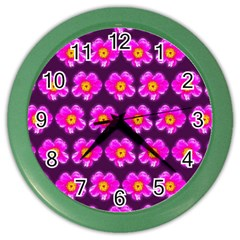 Pink Flower Pattern On Wine Red Color Wall Clocks