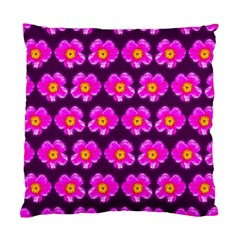 Pink Flower Pattern On Wine Red Standard Cushion Case (two Sides)