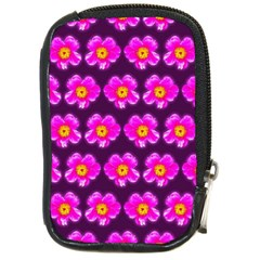 Pink Flower Pattern On Wine Red Compact Camera Cases