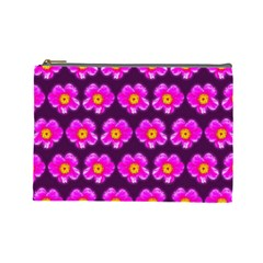 Pink Flower Pattern On Wine Red Cosmetic Bag (large)
