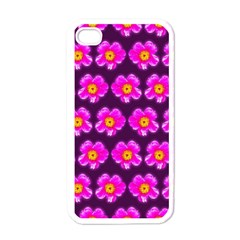 Pink Flower Pattern On Wine Red Apple Iphone 4 Case (white)