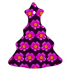 Pink Flower Pattern On Wine Red Ornament (christmas Tree)