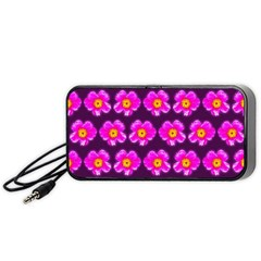 Pink Flower Pattern On Wine Red Portable Speaker (black)  by Costasonlineshop