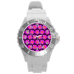 Pink Flower Pattern On Wine Red Round Plastic Sport Watch (l) by Costasonlineshop