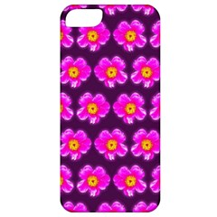 Pink Flower Pattern On Wine Red Apple Iphone 5 Classic Hardshell Case by Costasonlineshop