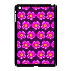 Pink Flower Pattern On Wine Red Apple Ipad Mini Case (black)