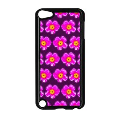 Pink Flower Pattern On Wine Red Apple Ipod Touch 5 Case (black) by Costasonlineshop