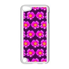 Pink Flower Pattern On Wine Red Apple Ipod Touch 5 Case (white) by Costasonlineshop