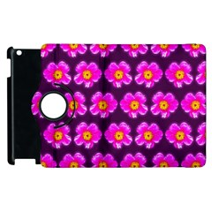 Pink Flower Pattern On Wine Red Apple Ipad 2 Flip 360 Case by Costasonlineshop