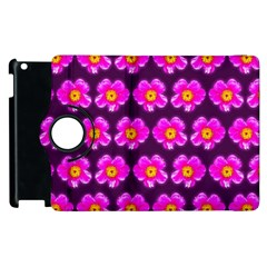 Pink Flower Pattern On Wine Red Apple Ipad 3/4 Flip 360 Case