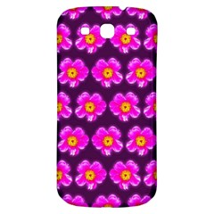 Pink Flower Pattern On Wine Red Samsung Galaxy S3 S Iii Classic Hardshell Back Case by Costasonlineshop