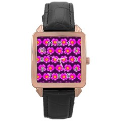 Pink Flower Pattern On Wine Red Rose Gold Leather Watch  by Costasonlineshop