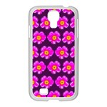 Pink Flower Pattern On Wine Red Samsung GALAXY S4 I9500/ I9505 Case (White) Front