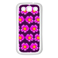 Pink Flower Pattern On Wine Red Samsung Galaxy S3 Back Case (white)