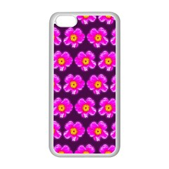 Pink Flower Pattern On Wine Red Apple Iphone 5c Seamless Case (white)