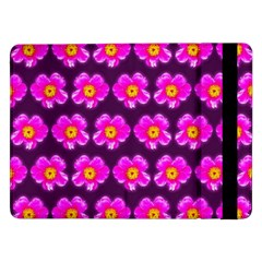 Pink Flower Pattern On Wine Red Samsung Galaxy Tab Pro 12 2  Flip Case