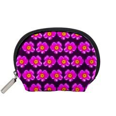 Pink Flower Pattern On Wine Red Accessory Pouches (small)