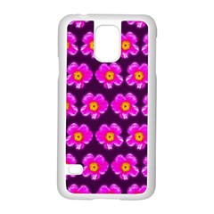 Pink Flower Pattern On Wine Red Samsung Galaxy S5 Case (white) by Costasonlineshop