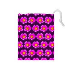 Pink Flower Pattern On Wine Red Drawstring Pouches (medium)