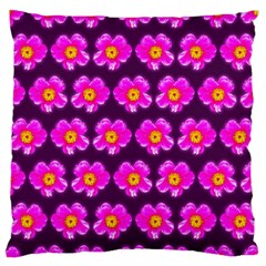 Pink Flower Pattern On Wine Red Large Flano Cushion Case (one Side) by Costasonlineshop