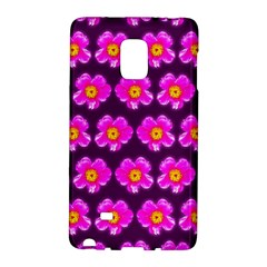 Pink Flower Pattern On Wine Red Galaxy Note Edge by Costasonlineshop