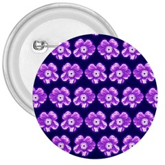 Purple Flower Pattern On Blue 3  Buttons by Costasonlineshop