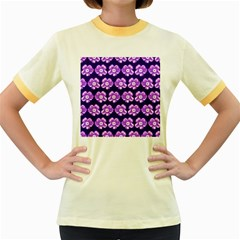 Purple Flower Pattern On Blue Women s Fitted Ringer T Shirts
