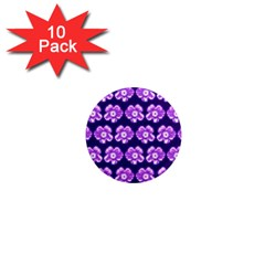 Purple Flower Pattern On Blue 1  Mini Magnet (10 Pack)