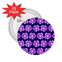 Purple Flower Pattern On Blue 2 25  Buttons (10 Pack)
