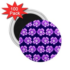 Purple Flower Pattern On Blue 2 25  Magnets (100 Pack)