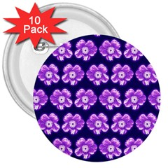 Purple Flower Pattern On Blue 3  Buttons (10 Pack)
