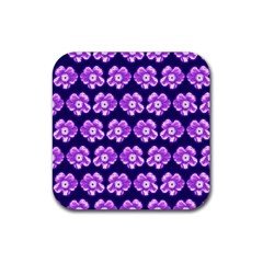 Purple Flower Pattern On Blue Rubber Square Coaster (4 Pack)  by Costasonlineshop