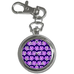 Purple Flower Pattern On Blue Key Chain Watches