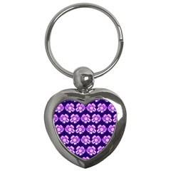 Purple Flower Pattern On Blue Key Chains (heart)  by Costasonlineshop