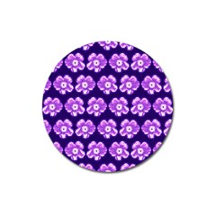 Purple Flower Pattern On Blue Magnet 3  (round) by Costasonlineshop