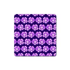 Purple Flower Pattern On Blue Square Magnet